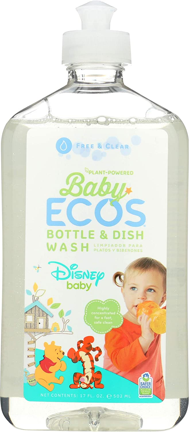 Earth Friendly Products Baby Ecos Bottle and Dish Wash, Free and Clear, Disney, 17 Fl Oz