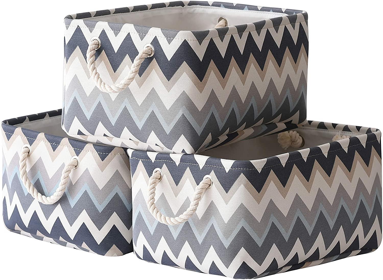 TcaFmac Baskets Storage Foldable Storage Bins [3-Pack] Collapsible Storage Basket Fabric Baskets Handles for Organizing Shelf Nursery Home Closet 15.7(L) x 11.8(W) x 8.3(H) inch (Wavy Stripes)