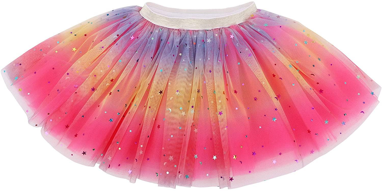 Lullaby 4 Layered Baby Tulle Tutu Skirt Girls Rainbow Sparkle Tutu