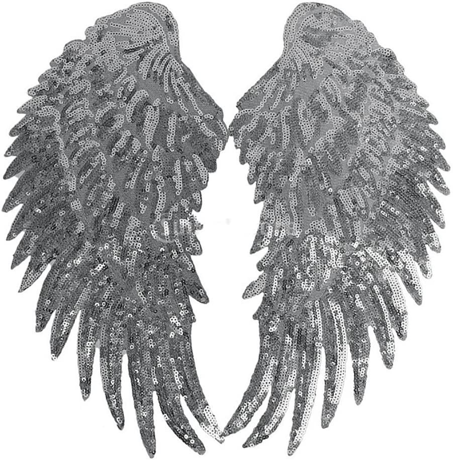 Anniston Art & Craft Sewing Set, 2Pcs DIY Angel Wings Sequins Patches Clothes Sew-on Embroidered Motif Applique Sewing Supplies for DIY Beginners Adult Kids Teens Girls, Silver