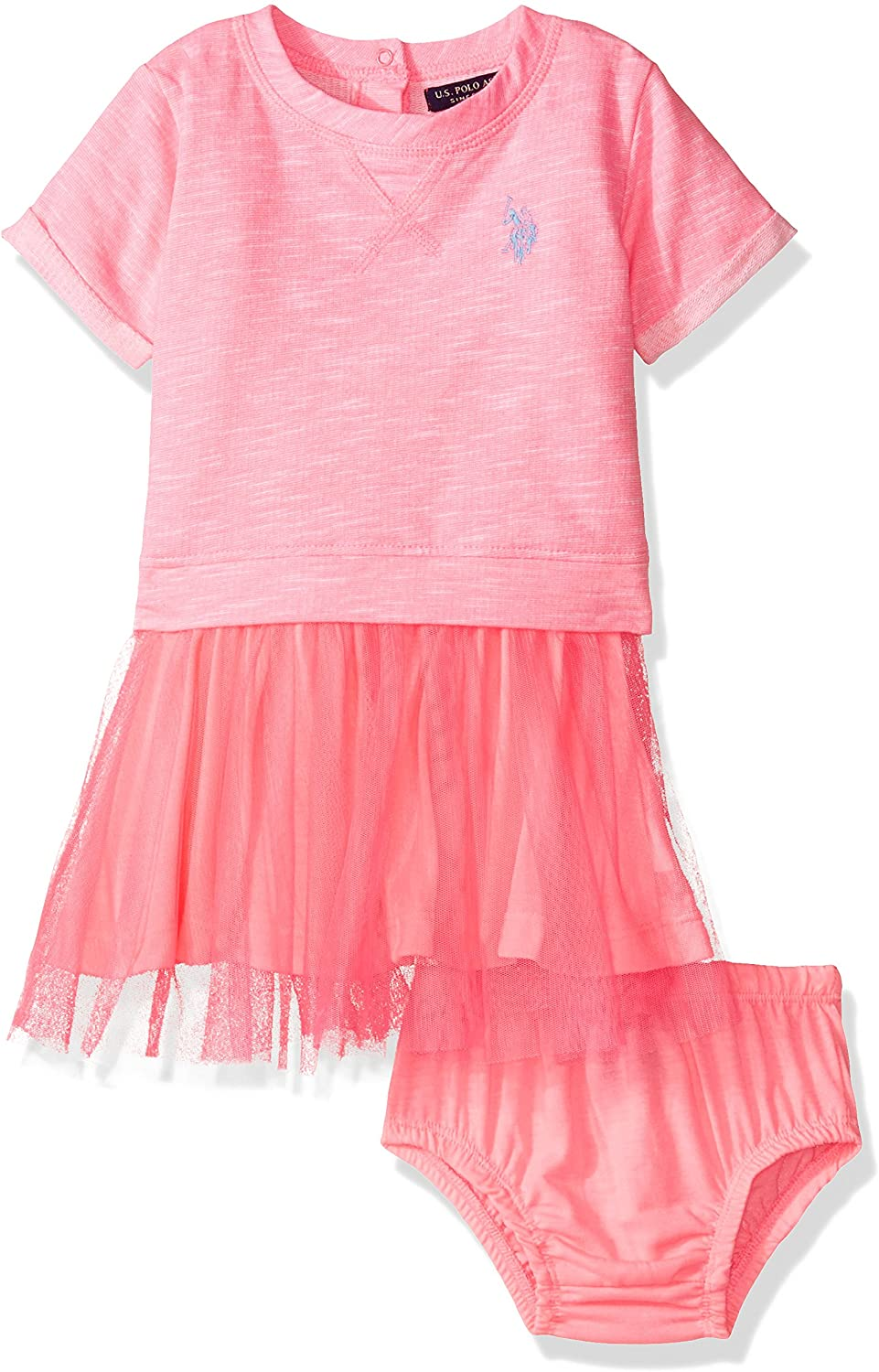 U.S. Polo Assn. Baby Girls' French Terry and Tulle Dress