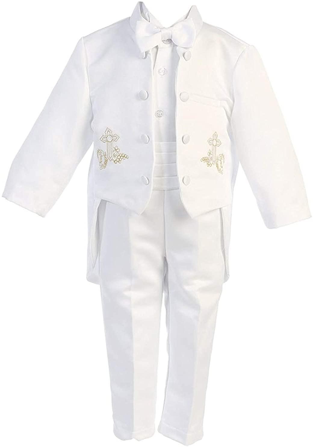 iGilrDress Baby/Toddler/Boys White Baptism Christening Mandarin Collar Tail 5 pcs Tuxedo with Cross Embroidery