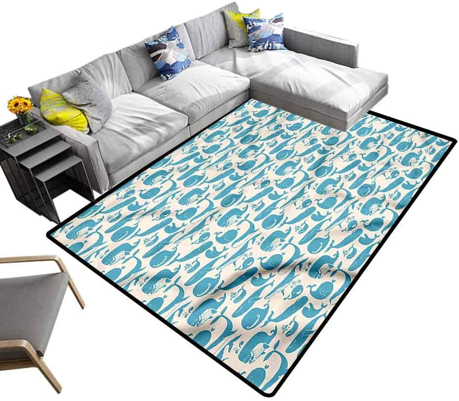 Whale, Floor Mat Humorous Blue Animals Baby Floor Playmats Crawling Mat for Living Room Kids Room, 6'x 9'