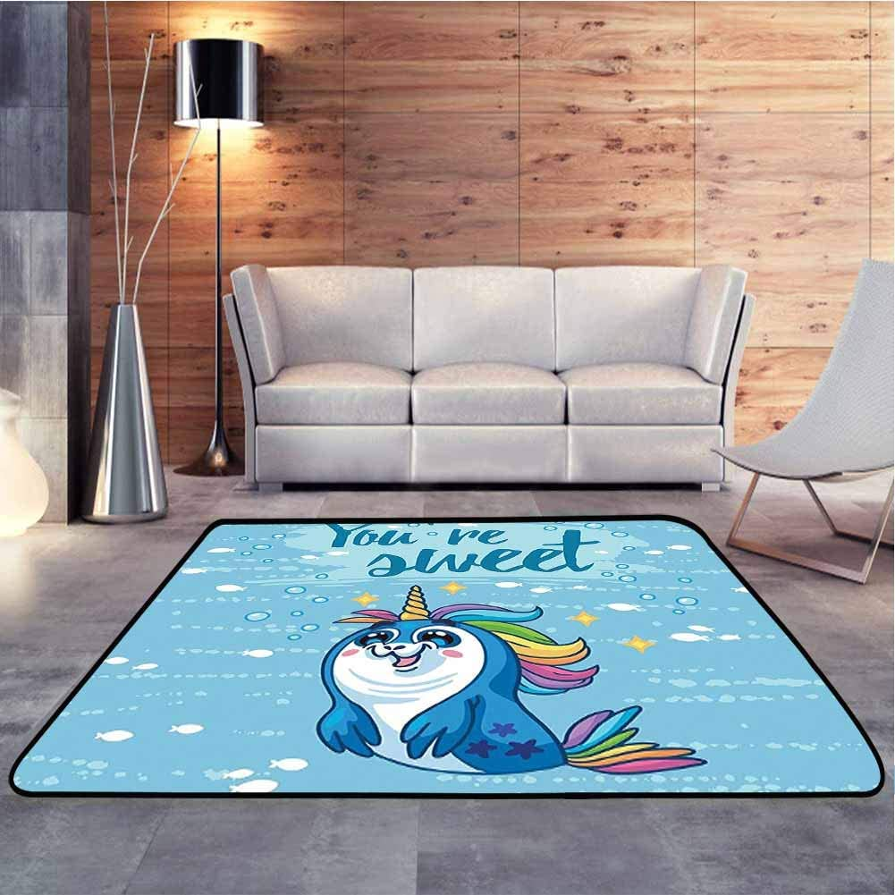 Floor Mat Sweet Quote with Baby Penguin Shaped Unicorn and Fish in The Sea Decor Bedroom Entrance Hallway Carpet for Children to Crawl and Play, 7 x 7 Feet