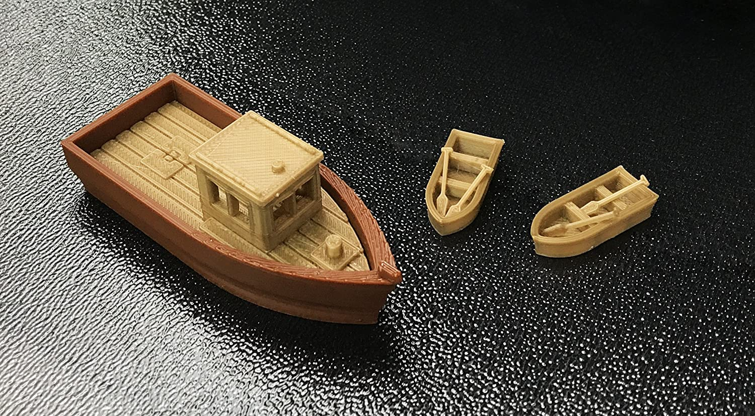 Outland Models Railroad Scenery Large Fishing Boat w 2 Small Boats HO Scale 1:87