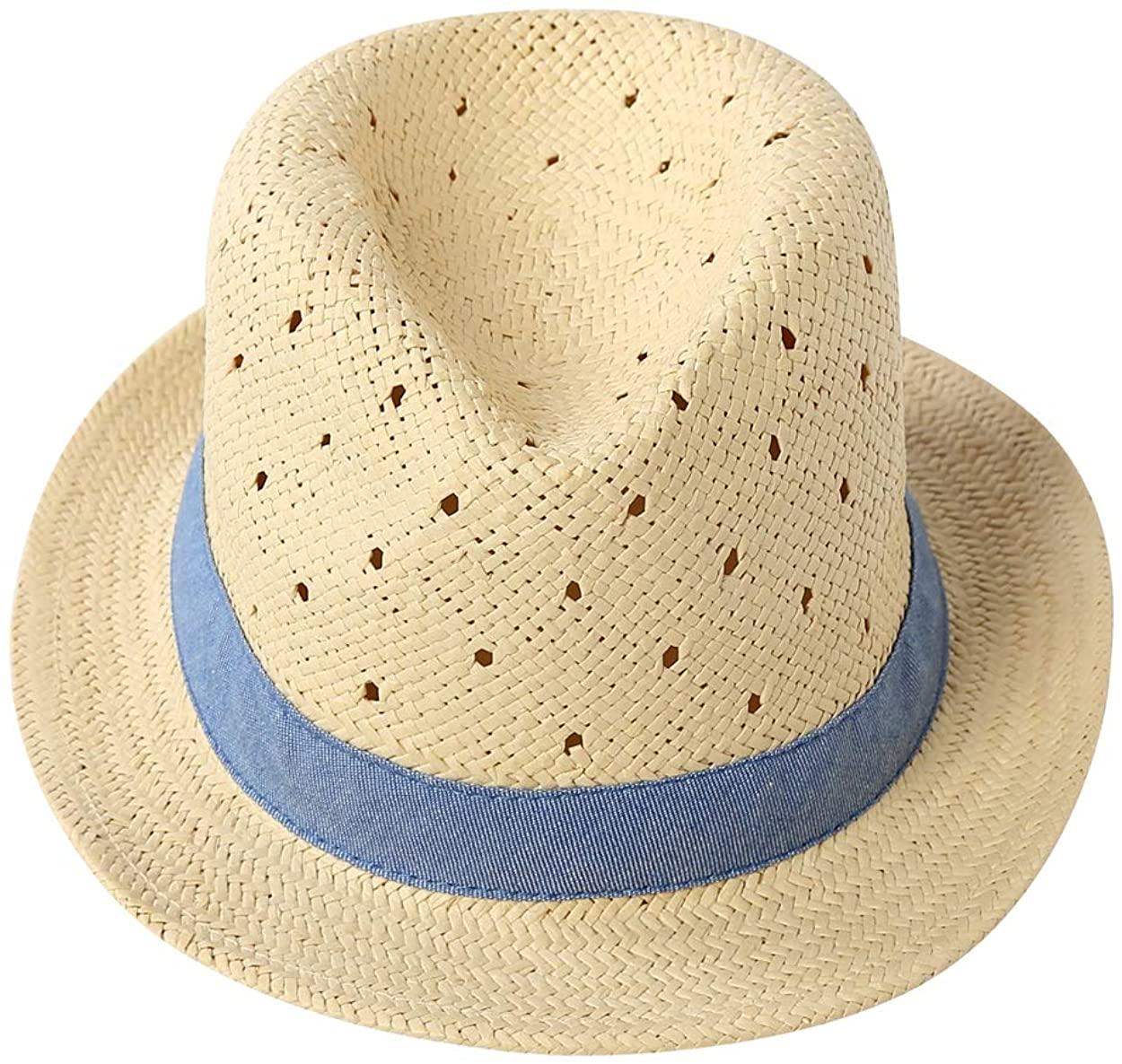 LLmoway Kids Summer Straw Hat for Baby Infant Toddler Boys Fedora Beach Sun Hat
