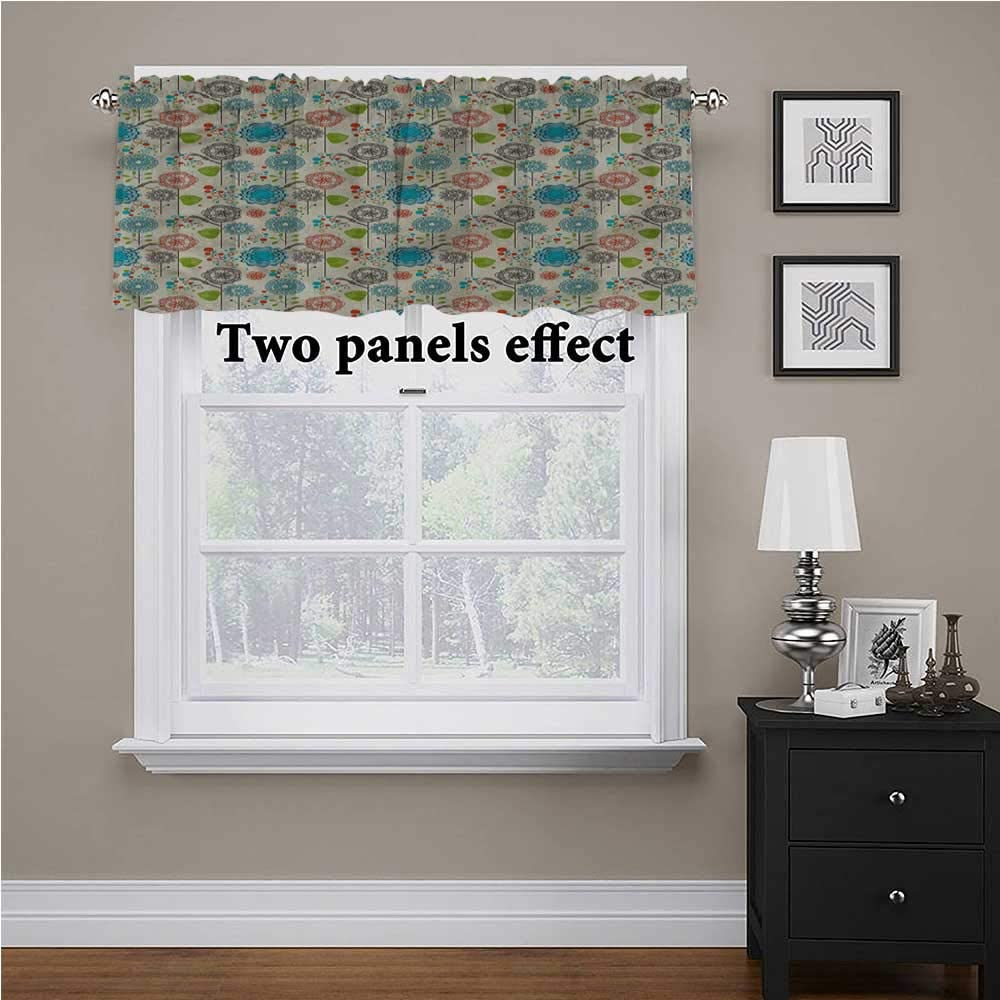 shirlyhome Floral Window Valences Curtains Retro Doodle Cheerful for Kids Room/Baby Nursery/Dormitory, 56 Inch by 16 Inch 1 Panel
