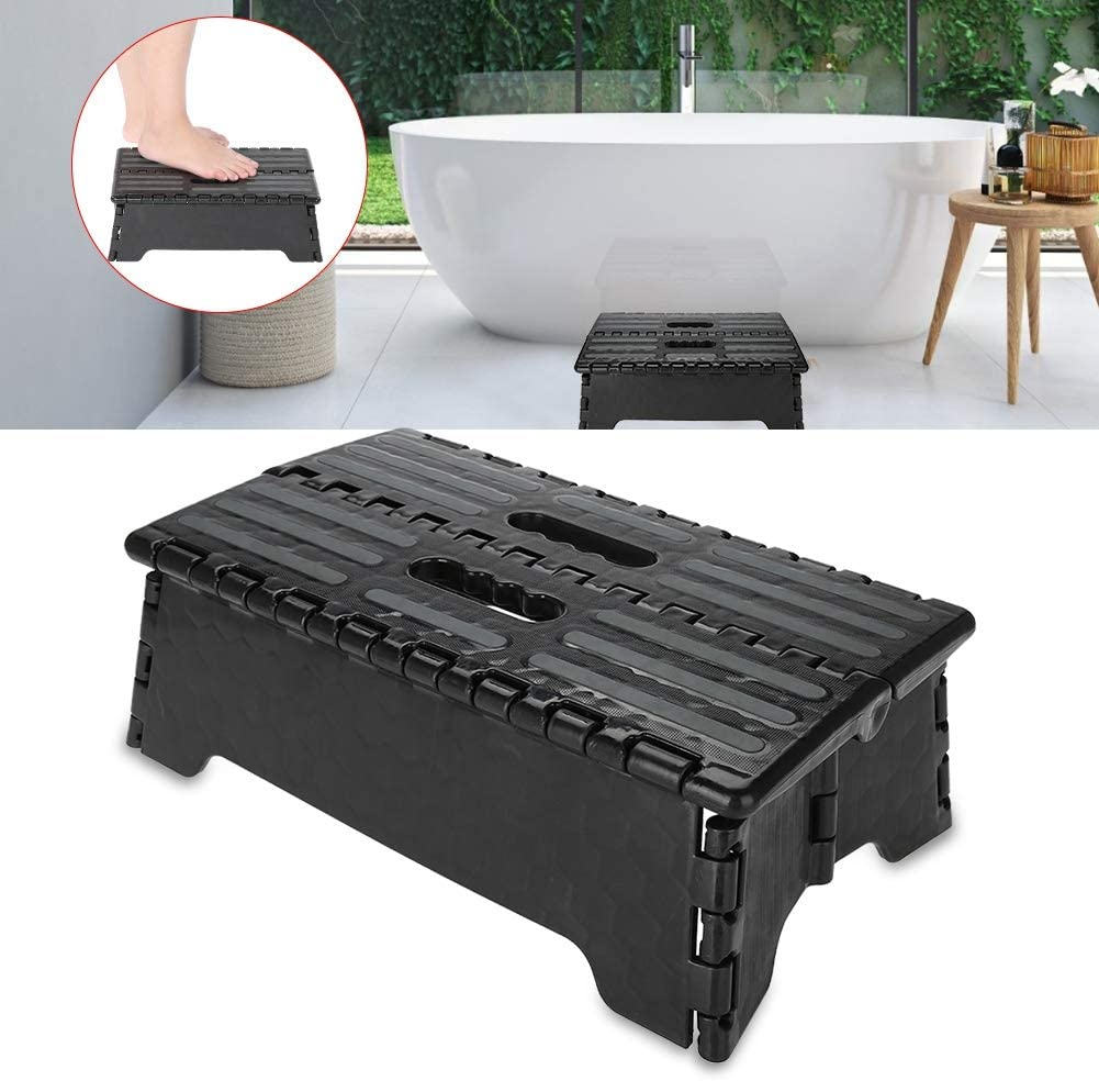 Folding Step Stool, Portable Plastic Folding Step Stool Black Step Ladder is Sturdy Enough to Support Elderly, Pregnant & Kids, Suitable for Kitchen, Bathroom, Toilet, Caravan, Travel Use