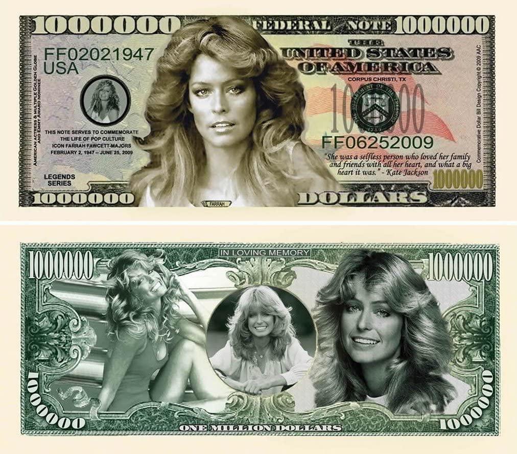 "100 Farrah Fawcett Million Dollar Bills with Bonus ""Thanks a Million"" Gift Card Set"
