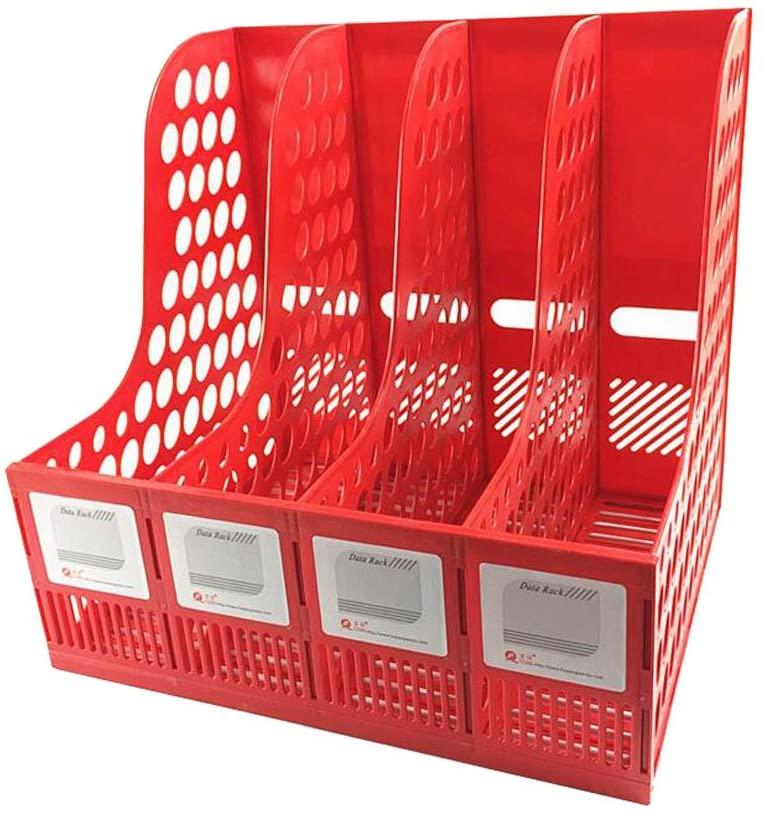 Magazine File Storage Office 4 Compartment Desktop Folder Organizer Rack Red
