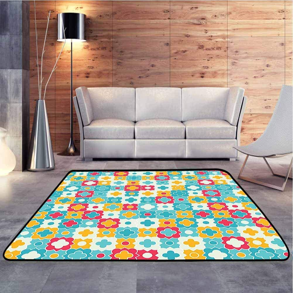 Home Decor Rugs Clover Leaves Barb Style Clover Lattice Boho Colorful Kids Room Red Turquoise Baby Floor Playmats Crawling Mat for Bedroom Playroom Nursery, 6.5 x 10 Feet