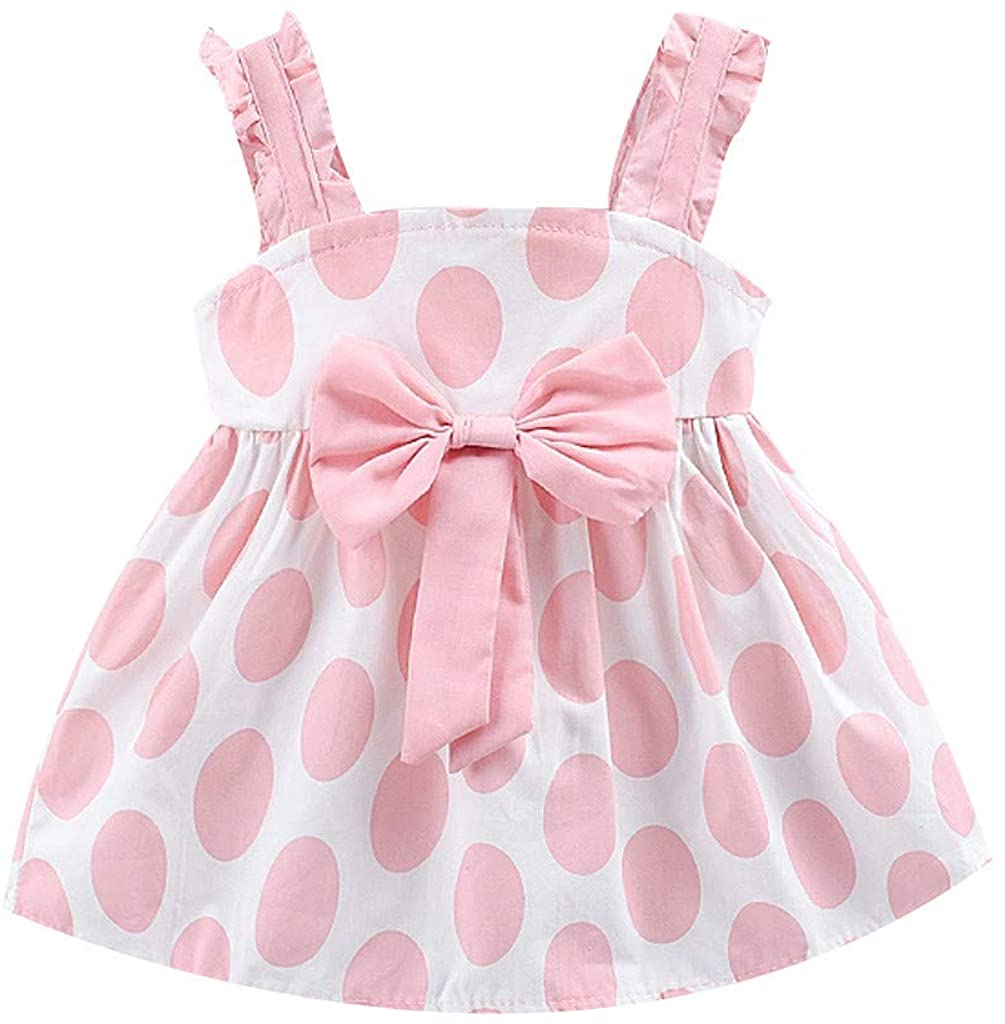 ZEFOTIM Toddler Baby Girls Kids Strap Bow Dot Print Summer Dress Princess Dresses 6-24M 2-3Y