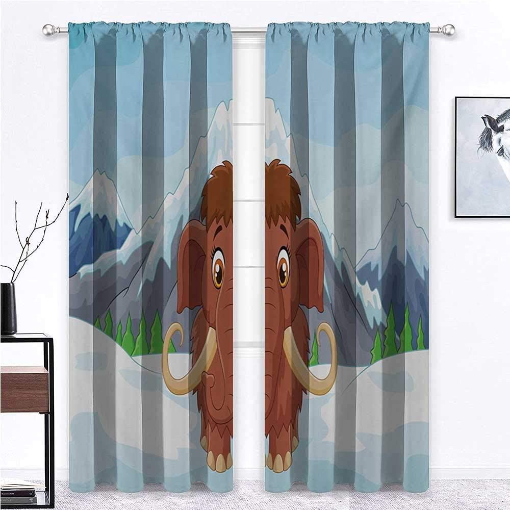 Nomorer Kids Curtains Cartoon Kids Room Window Drapes Baby Mammoth in Ice Snowy Mountain Winter Cheerful Animal Prehistoric Design 55