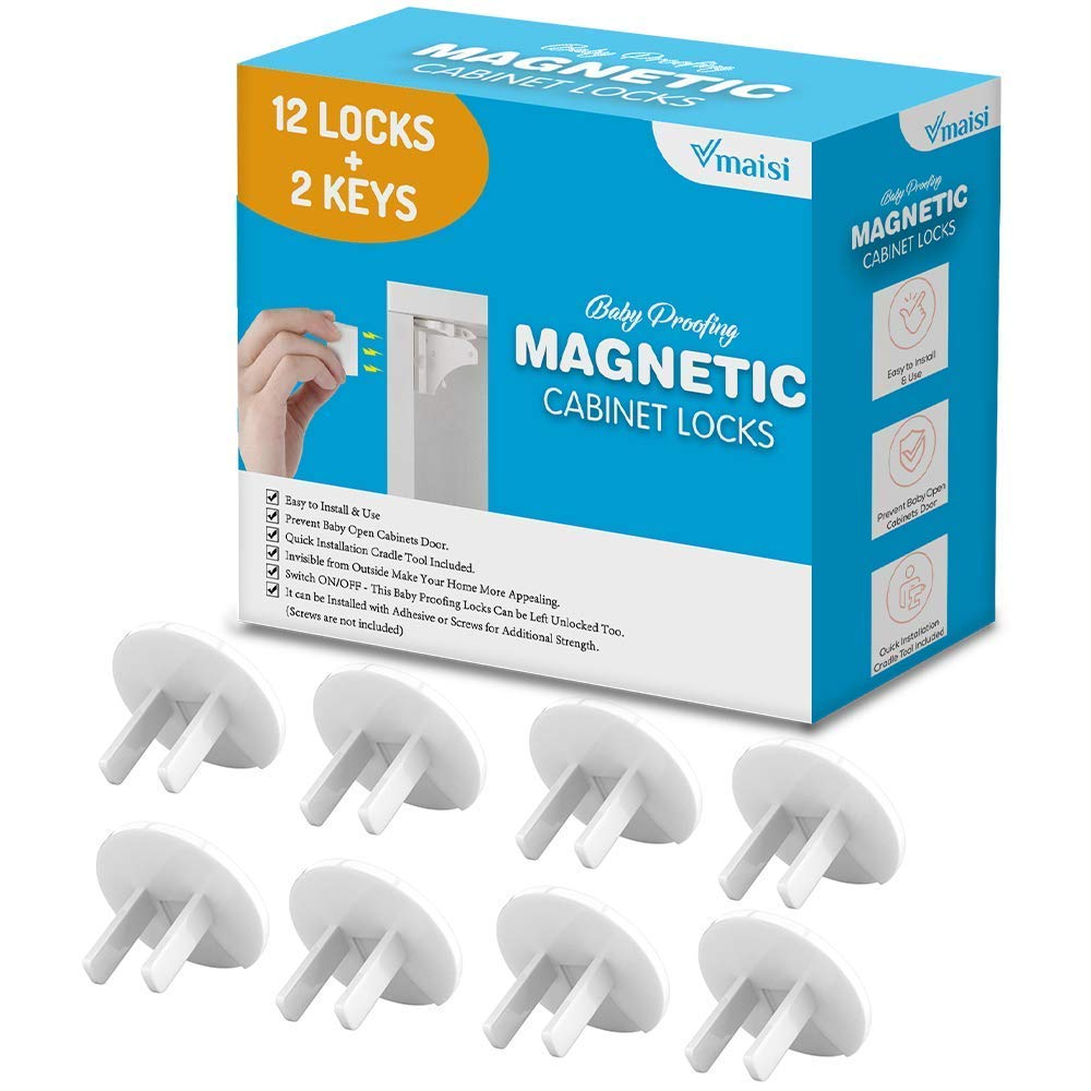 52 Pack - 12 Locks & 2 Keys Magnetic Cabinet Locks Bundle with 38 Pack Baby Proofing Outlet Covers