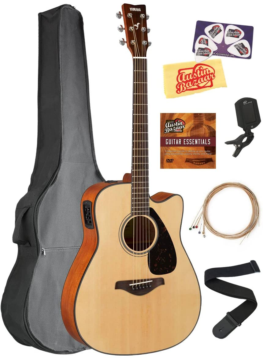 Yamaha FGX800C Solid Top Folk Acoustic-Electric Guitar - Natural Bundle with Gig Bag, Tuner, Strings, Strap, Picks, Austin Bazaar Instructional DVD, and Polishing Cloth