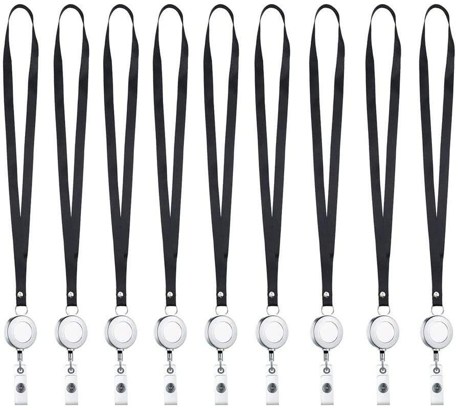 Mydio 12 Pack Heavy Duty Metal Retractable Reel with Black Lanyard Neck Strap for Key ID Cards,Set of 12