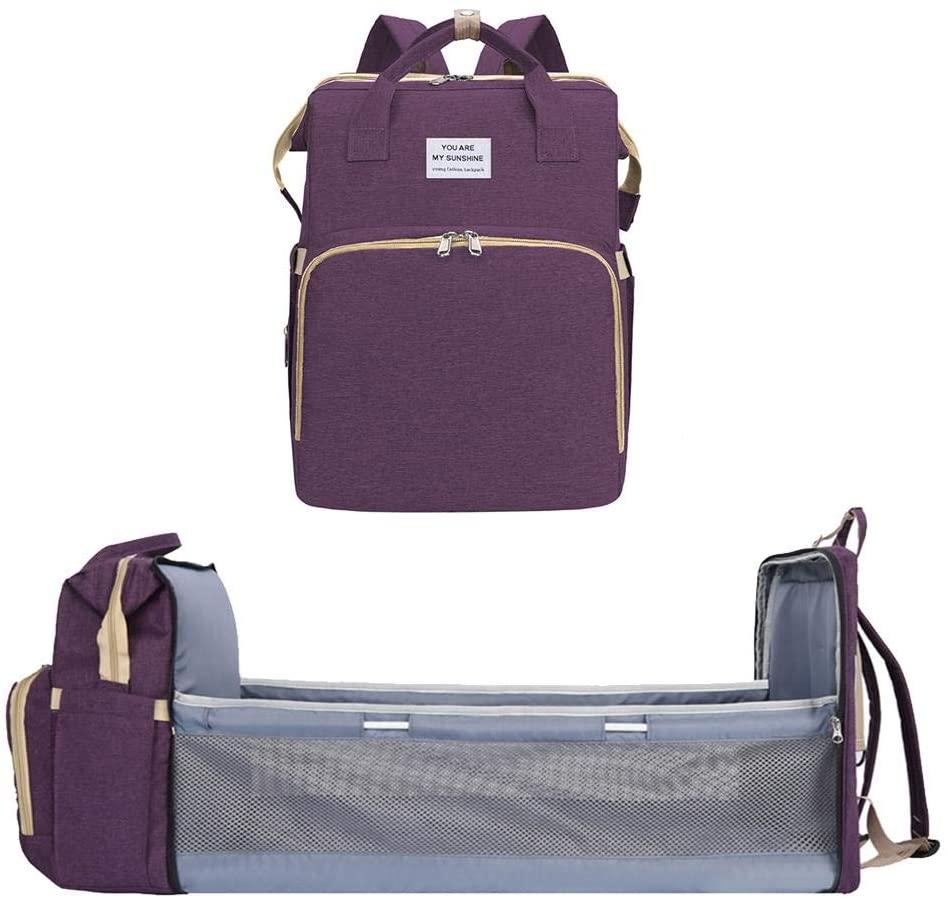 Glum Diaper Bag, Portable Folding Mommy Bag Large Capacity Backpack