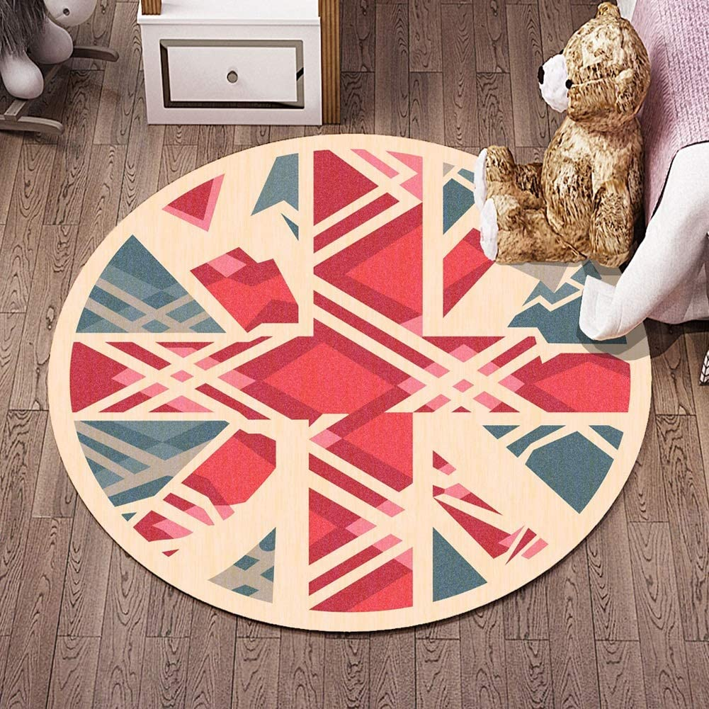 QFLY-RUGS Children Round Rugs Nursery Circle Carpet Kids Play Mat Nursery Decor Baby Crawling Rug Teen Room Decor Multi Style (Color : P, Size : 2'7''(80cm))