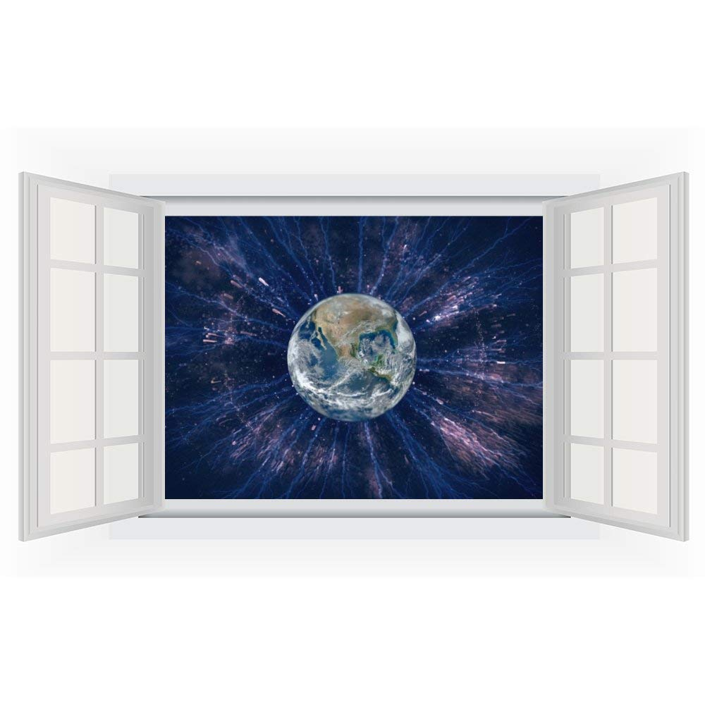 Wall Stickers Earth Universe Science Planet PVC 3D Decals for Kids Baby Living Room Bedroom Playroom Wall Wardrobe Door Decor Stick Wall Decals