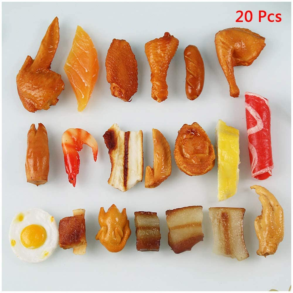 LUCKFY Pack of 20 Fake Cooked Shrimp Chicken Legs Wings Class Food Model for Kitchen Home Party Christmas Halloween Decoration Market Food Sample Display Kids Toy