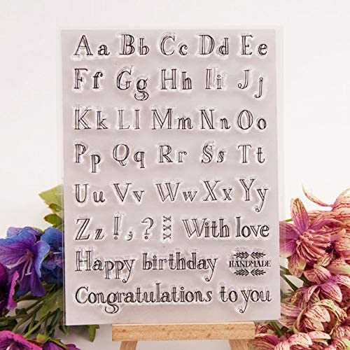 YULEKITO A-Z Alphabet Happy Birthday Clear Stamps for Card Making Decoration DIY Scrapbooking