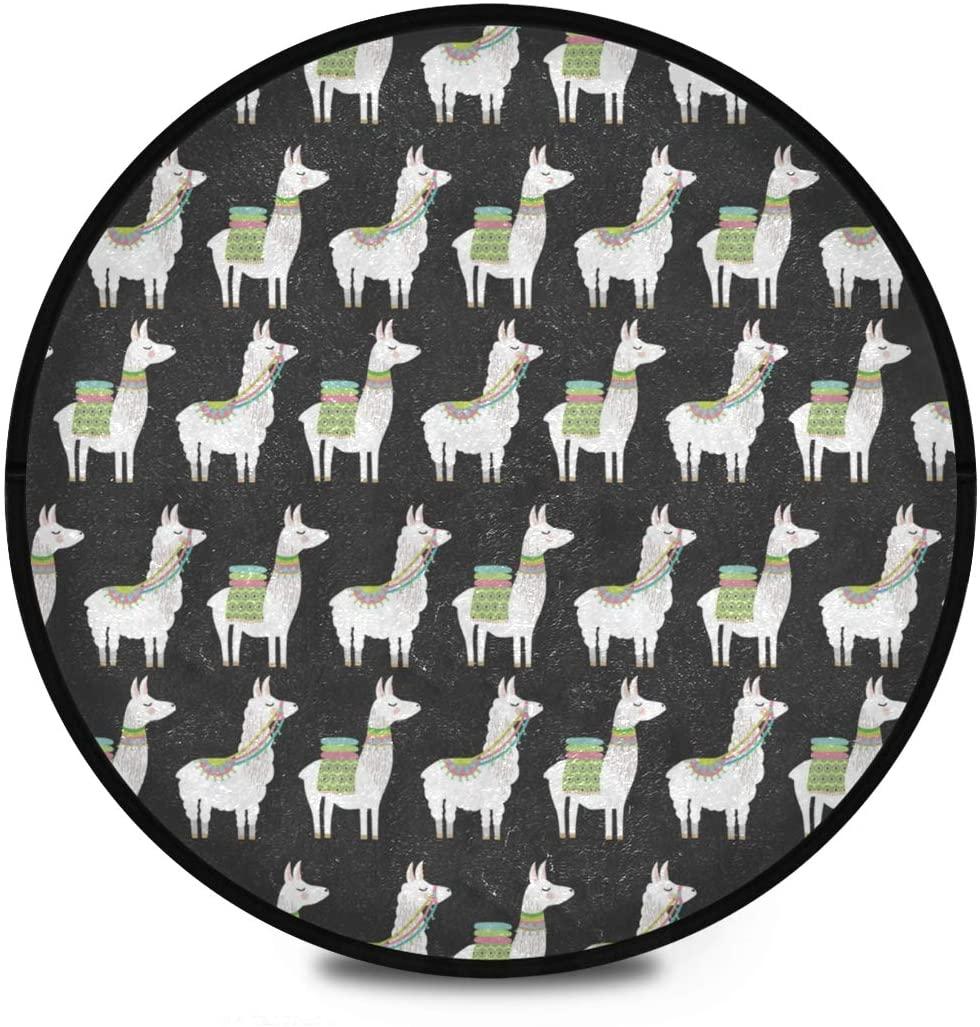 Shaggy Round Mat Llama Alpaca Round Rug for Kids Playroom Anti-Slip Rug Room Carpets Play Mat