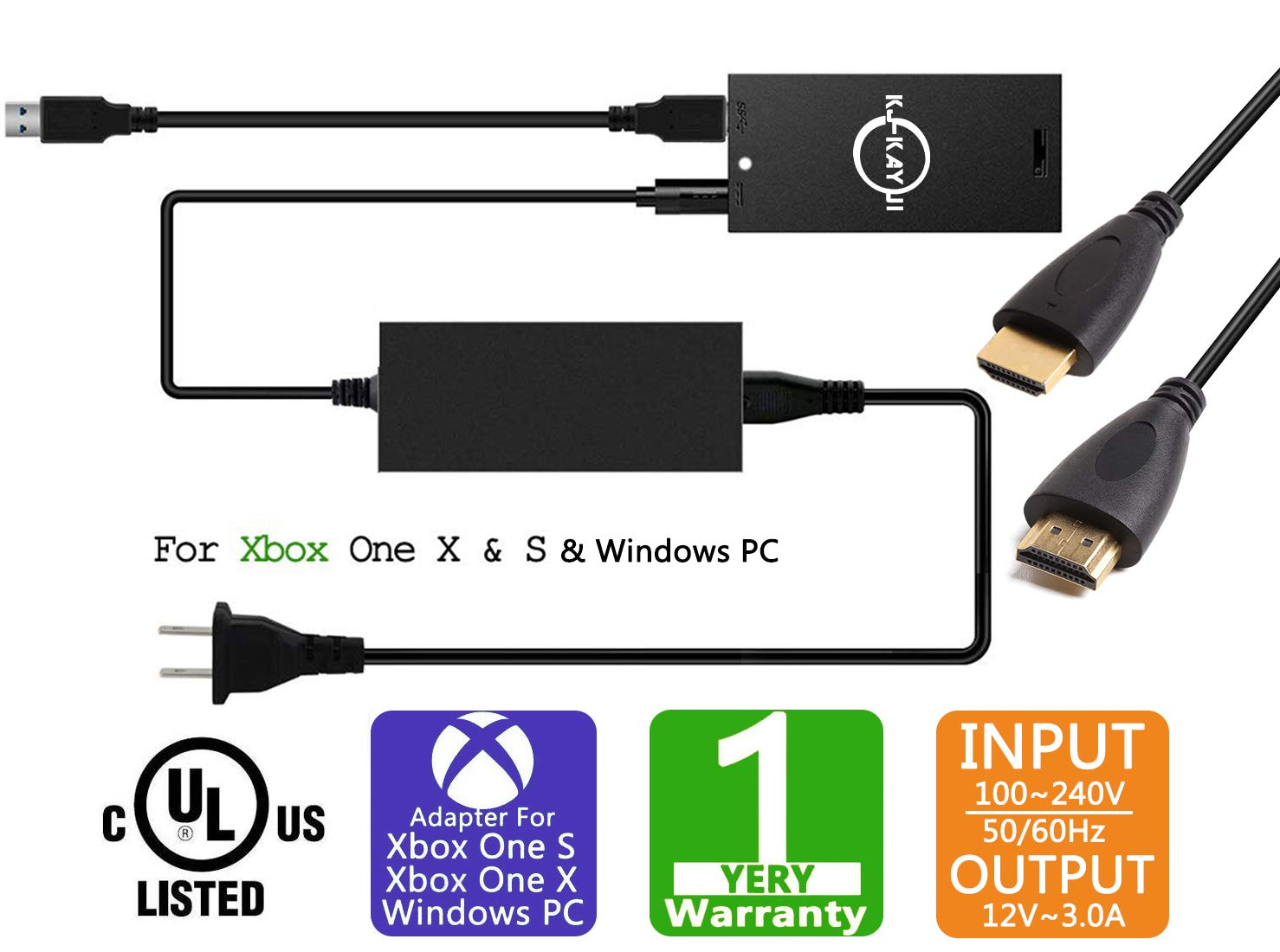 Xbox One Kinect Adapter for Xbox One S/Xbox One X/Windows PC,Windows PC Adapter Power Supply for Xbox One S/X kinect 2.0 Sensor,Connect to Windows PC Via USB 3.0,Windows Interactive APP Program Develo