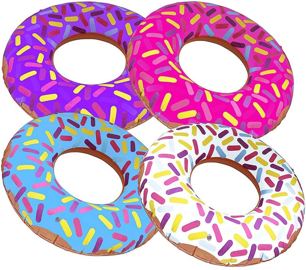 ArtCreativity 16 Inch Donut Inflates, Set of 4, Colorful Inflatable Donuts in Assorted Designs, Donut Birthday Party Decorations Supplies, Durable Water Pool Toys for Kids, Fun Donut Party Favors