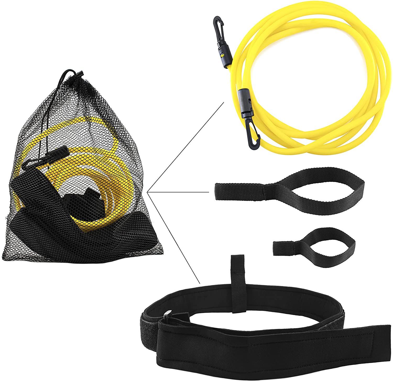 SGE Swim Training Belt - Endless Stationary Pool Trainer, Foam Waist Strap with Adjustable Hook & Loop Fastener - Elastic Cord Harness with Strong Buckles, Short & Long Webbing Loops, Mesh Storage Bag