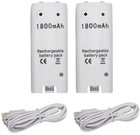 Wii Controller Replacement Rechargeable Batteries for Wii Remote Control, White - 2 Pack (Renewed)