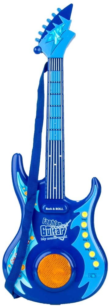 Maggie Blue Musical Rock'n Roll Electric Guitar String Instrument Toy Play Set for Kids