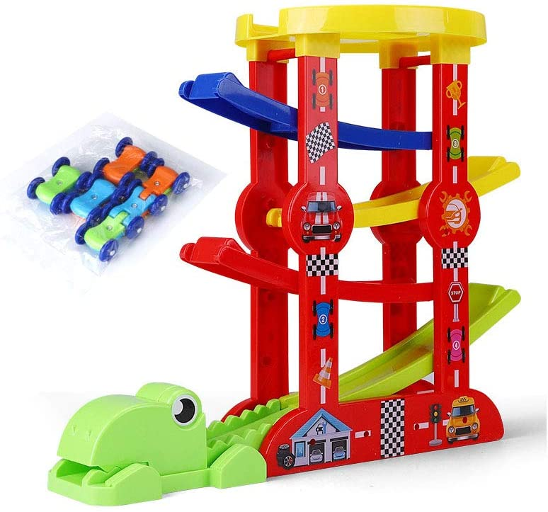 QREZ Ramp Racer Track Toy for Toddlers, Educational Toys Car Ramp Toy, with 3 Cars and Garage Creative Toys
