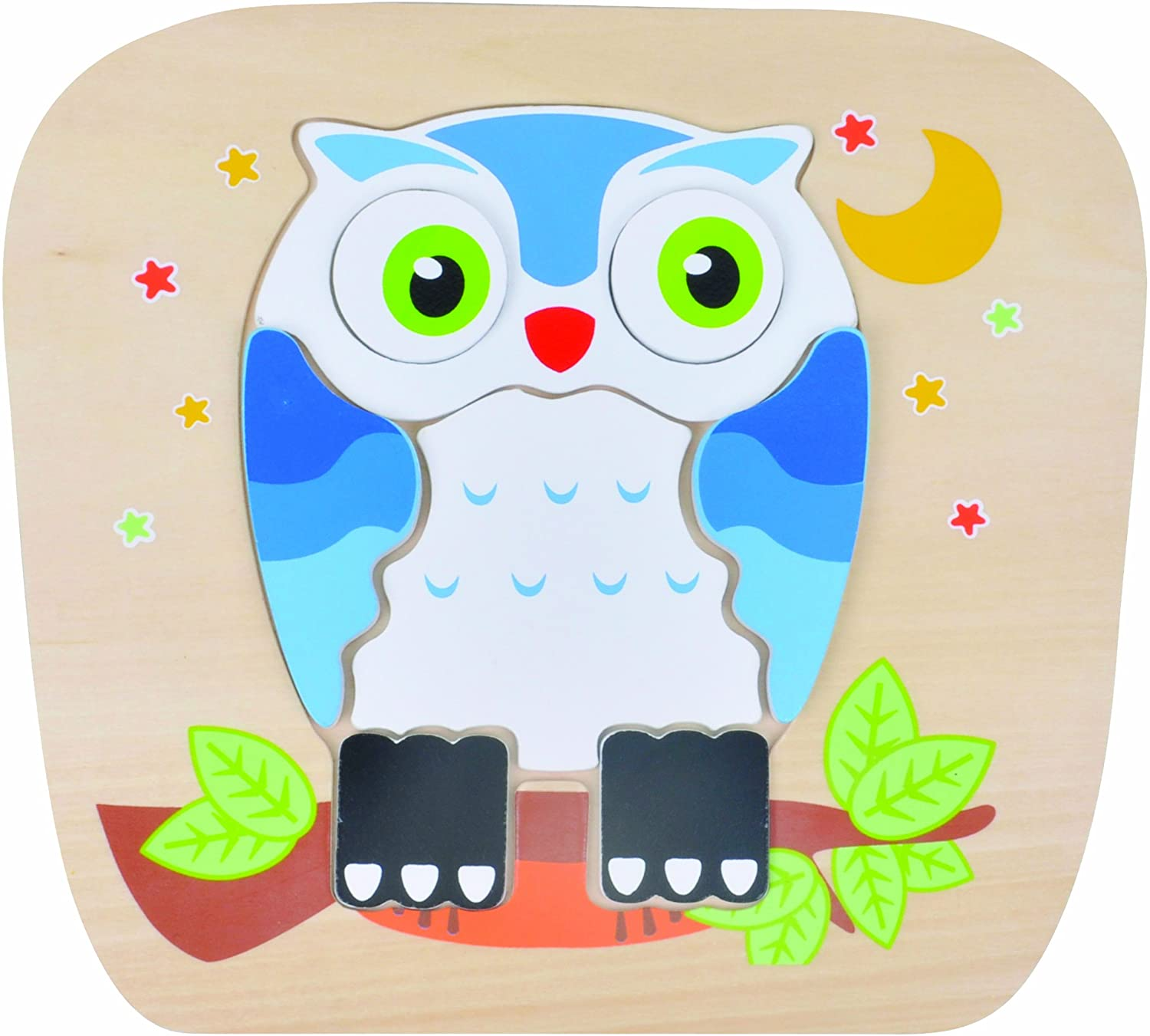 Discovery Toys Night OWL 2-Sided Interchangeable Wooden Puzzle| Kid-Powered Learning | STEM Educational Toy Learning & Childhood Development 2 Years and Up