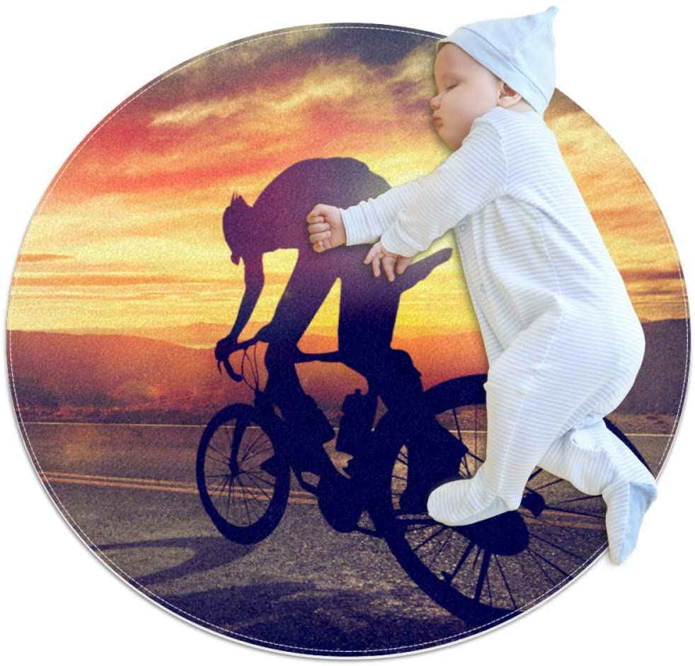 Road Bike Sunset Kids Playmat Round Soft Modern Rugs for Floor Non-Slip for Room Decorations 31.5x31.5IN