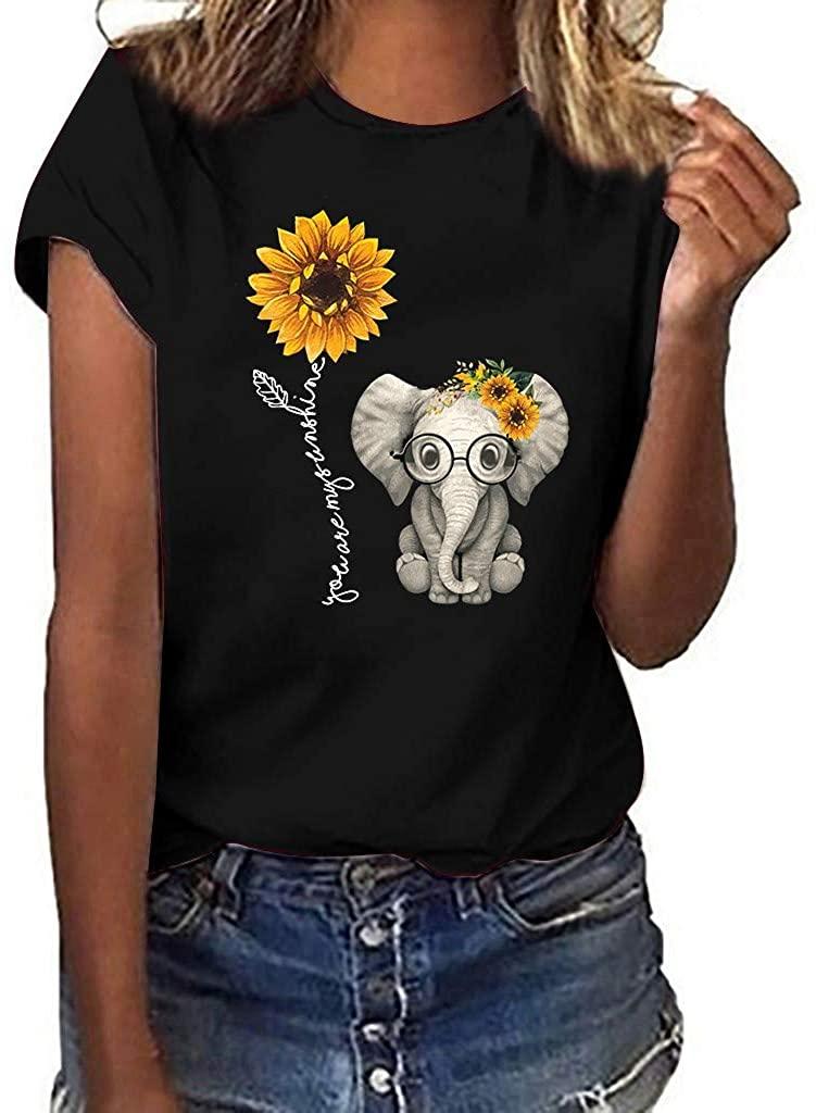Summer Womens Tops Plus Size Short Sleeve Ladies Womens Tshirt Sunflower Print Girls Casual Blouses for Women 2020