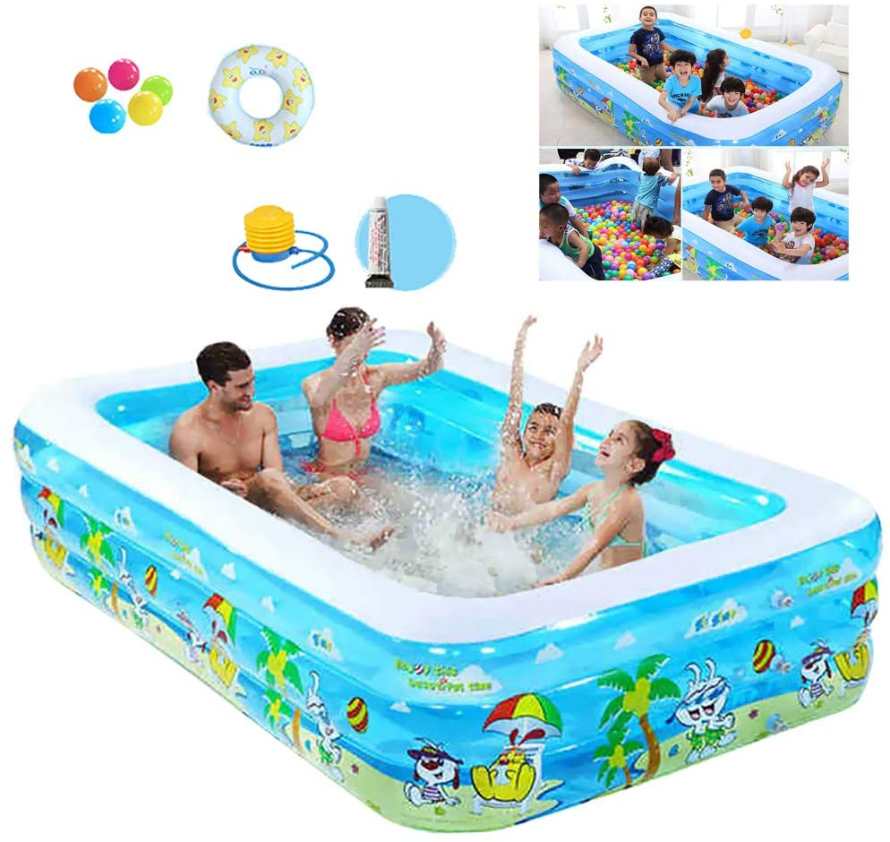ZEIYUQI Inflatable Pool Above Ground Ourdoor Swiming Pool for Kids Foldable PVC Thick Wear-Resistant Water Play Fun Big Family Pool,Bubble,122 90 52cm A