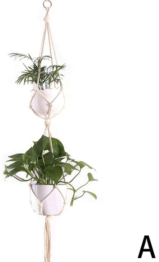PLANT Macrame Double Hanger Rope Hanging Planter,Handmade 2 Tier Indoor Wall Hanging Basket Holder Outdoor Garden Balcony Hanging Flower Pot Holder (Color : A)