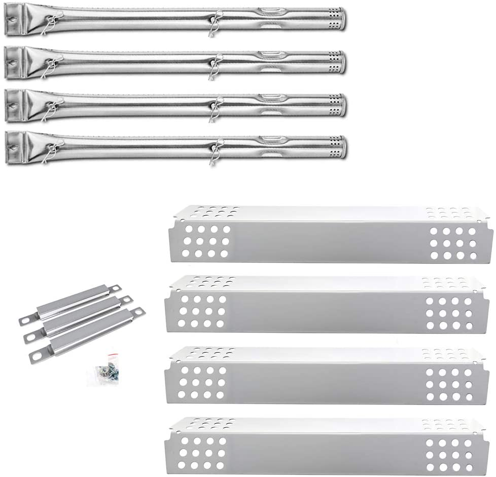 Uniflasy Replacement Parts Kit for Charbroil 4 Burner 463241113, 463449914, BBQ Gas Grill Burner Tube Pipe, Heat Plate and Crossover Tubes