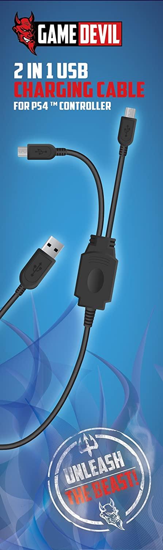 Game Devil 2 in 1 USB Charging Cabel (PS4)