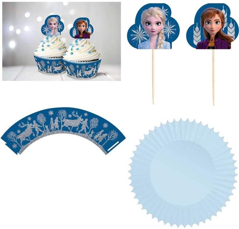 Frozen 2 Birthday, Glitter Blue Cupcake Kit, 72 Ct.