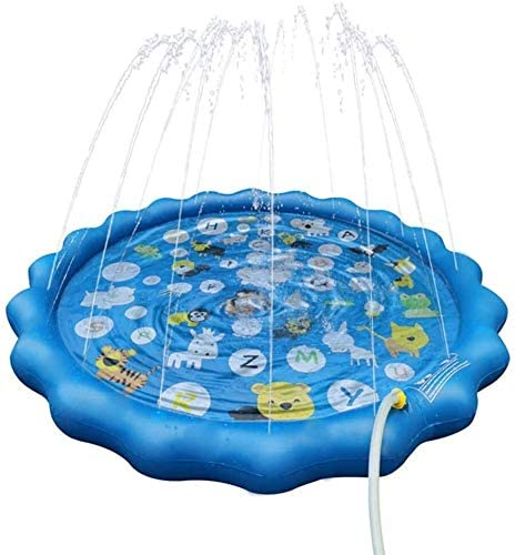 NJYT Sprinkler and Splash Pad,170cm Sprinkle and Splash Water Play Mat Fun Backyard Fountain Play Mat for Girls Boys Blue ( Color : Blue )