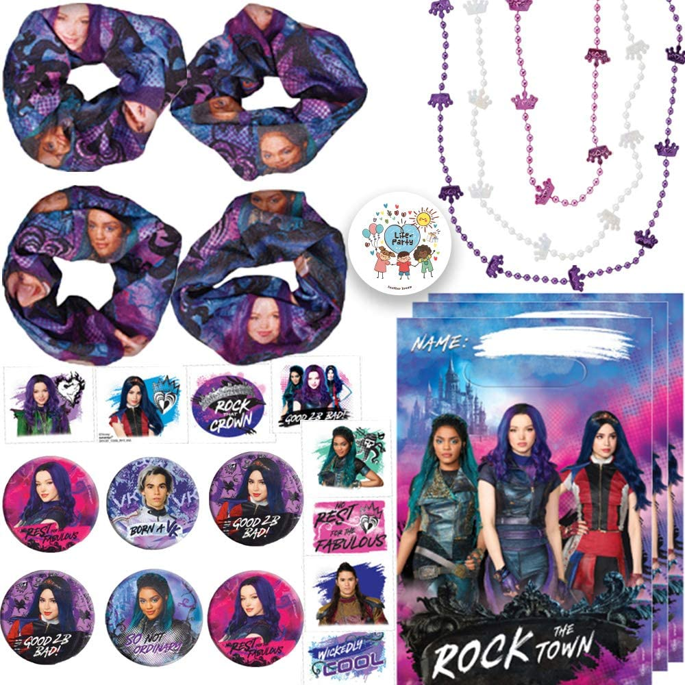 Descendants 3 Birthday Party Favors and Goodie Bag Fillers Pack For 8 Guests With Descendants 3 Goody Bags, Tattoos, Mini Buttons, Crown Necklaces, and Pin