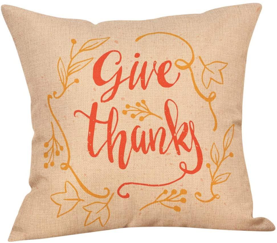 Yomiafy Autumn Happy Thanksgiving Throw Pillow Case Cotton Linen Home Decor Pillowcases Soft Square Cushion Cover(Yellow-Z)