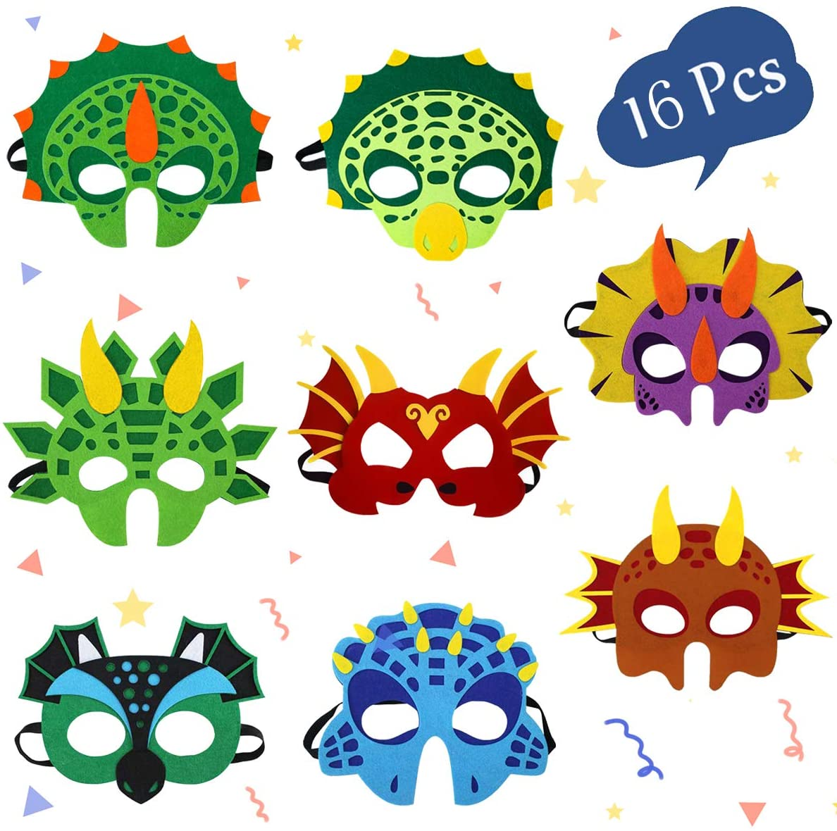 Dinosaur Masks Party Supplies for Kid (16 Packs) Felt and Elastic - Masquerade and Birthday Dinosaur Party Mask Favors Decorations, Perfect for Children Girls Boys Kids