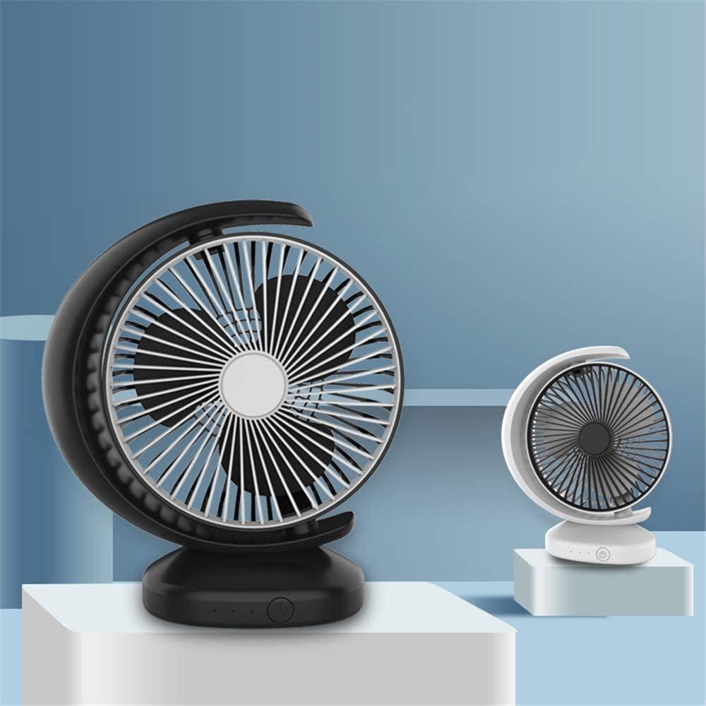 XINLANYU Half Round Moon Desk Fan,Mini USD Rechargable Air Circulator for Home,Office (Black)