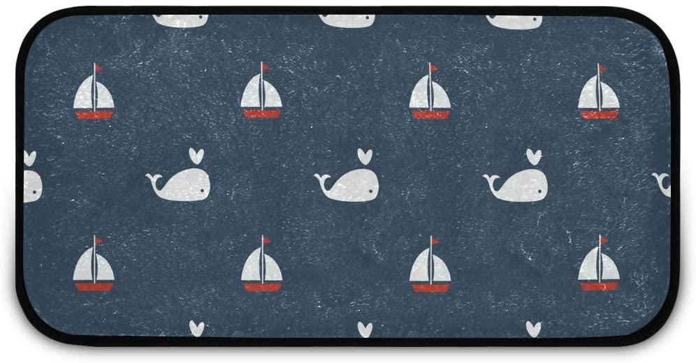 Rectangle Shaggy Rug Doormat for Kids Whales Bathroom Anti-Slip Rug Rectangle Carpet Play Mat