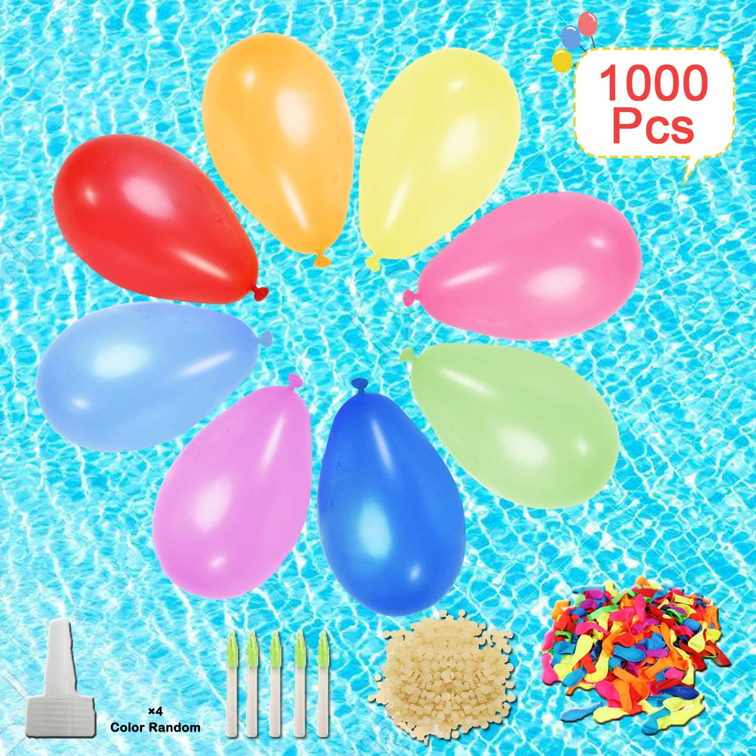 Tuptoel 1000 Pack Water Balloons with Refill Kits, Eco-Friendly Latex Water Bomb Balloons for Party Games - Summer Outdoor Beach Swimming Pool Toys for Kids & Adults
