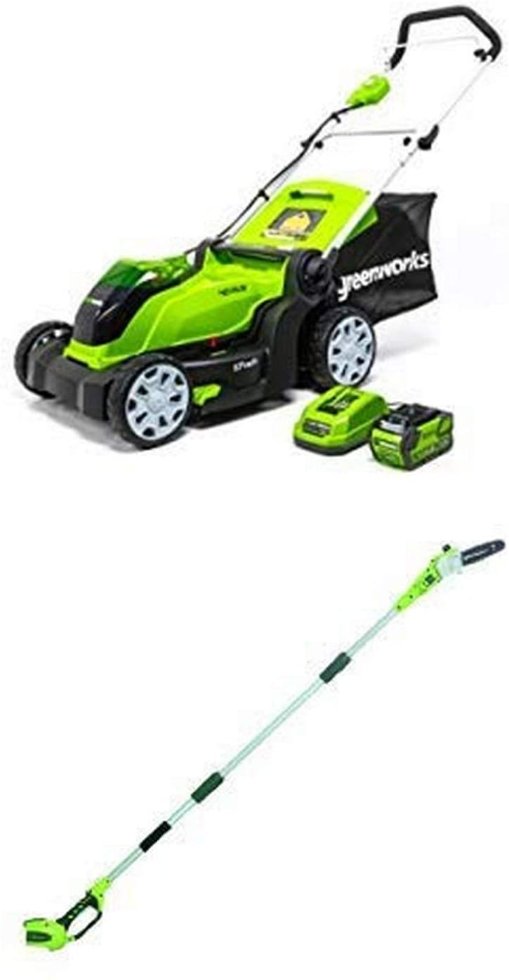Greenworks 17-Inch 40V Cordless Lawn Mower with 8.5' 40V Cordless Pole Saw Battery Not Included 20302