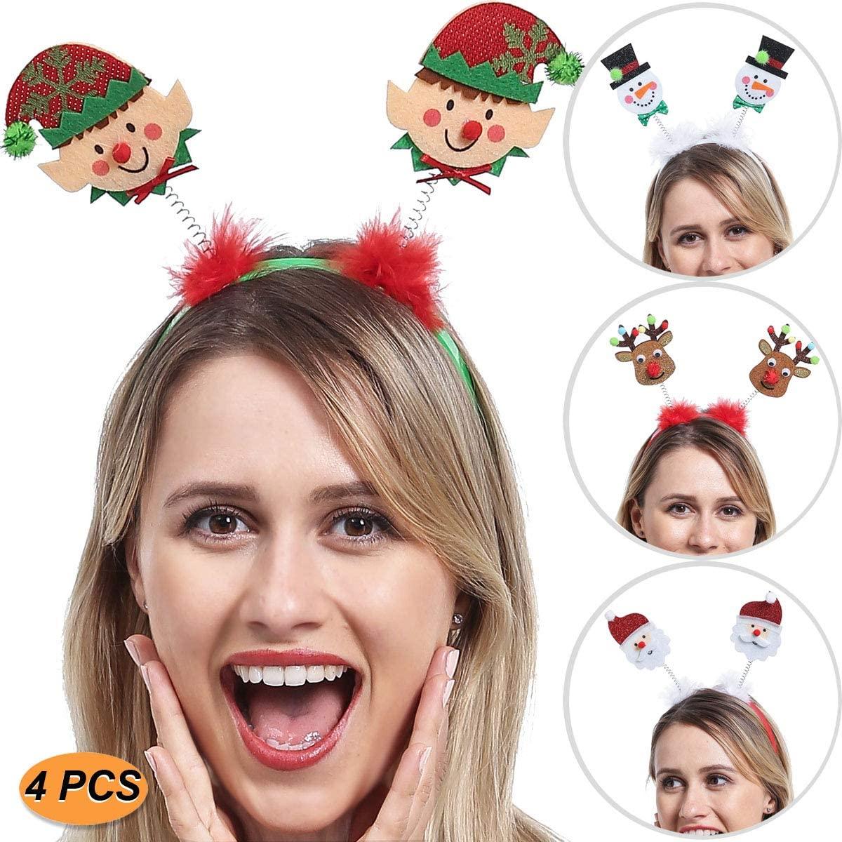 ADJOY Christmas Headbands for Kids Boys Girls Teenagers Women Men - Santa's Little Helper Headwear Snowman Santa Claus Reindeer Headband - One Size Fits All (4 PCS) Green