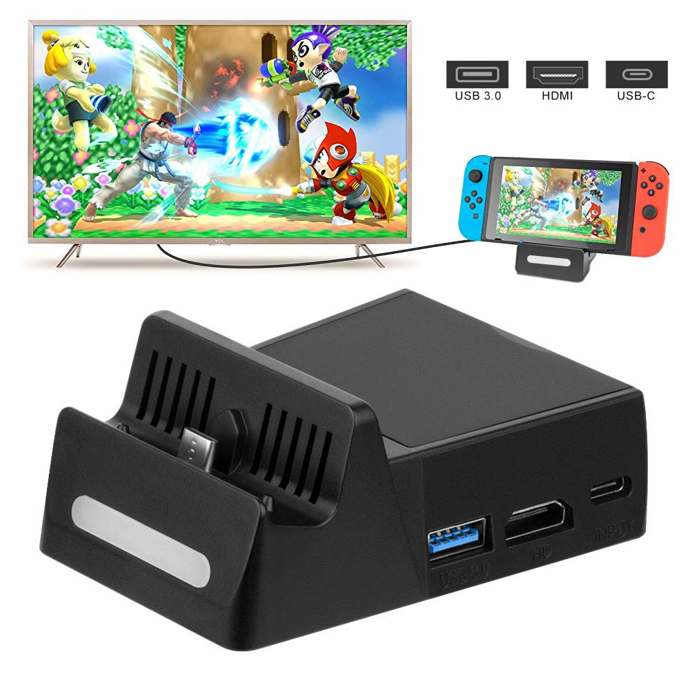 Switch Dock , Portable Charging Stand for Nintendo Switch , Switch TV Dock / Switch Docking Station with HD TV Adapter and USB 3.0 Port Ideal for Nintendo Switch Charging Dock Replacement